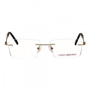 Rimless Metal Rectangle Gold Medium Vision Express 12075 Eyeglasses