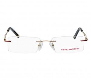 Rimless Metal Rectangle Gold Medium Vision Express 31833 Eyeglasses