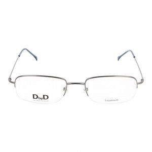 Half Rim Stainless Steel Oval Grey Medium DbyD DBOM9011 Eyeglasses