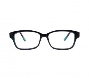 Blue Shield (Zero Power) Kids Computer Glasses: Oval Black Acetate Large 61405AF