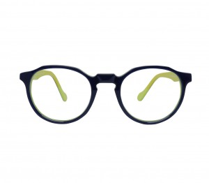 Blue Shield (Zero Power) Kids Computer Glasses: Round Blue Acetate Small 61411AF